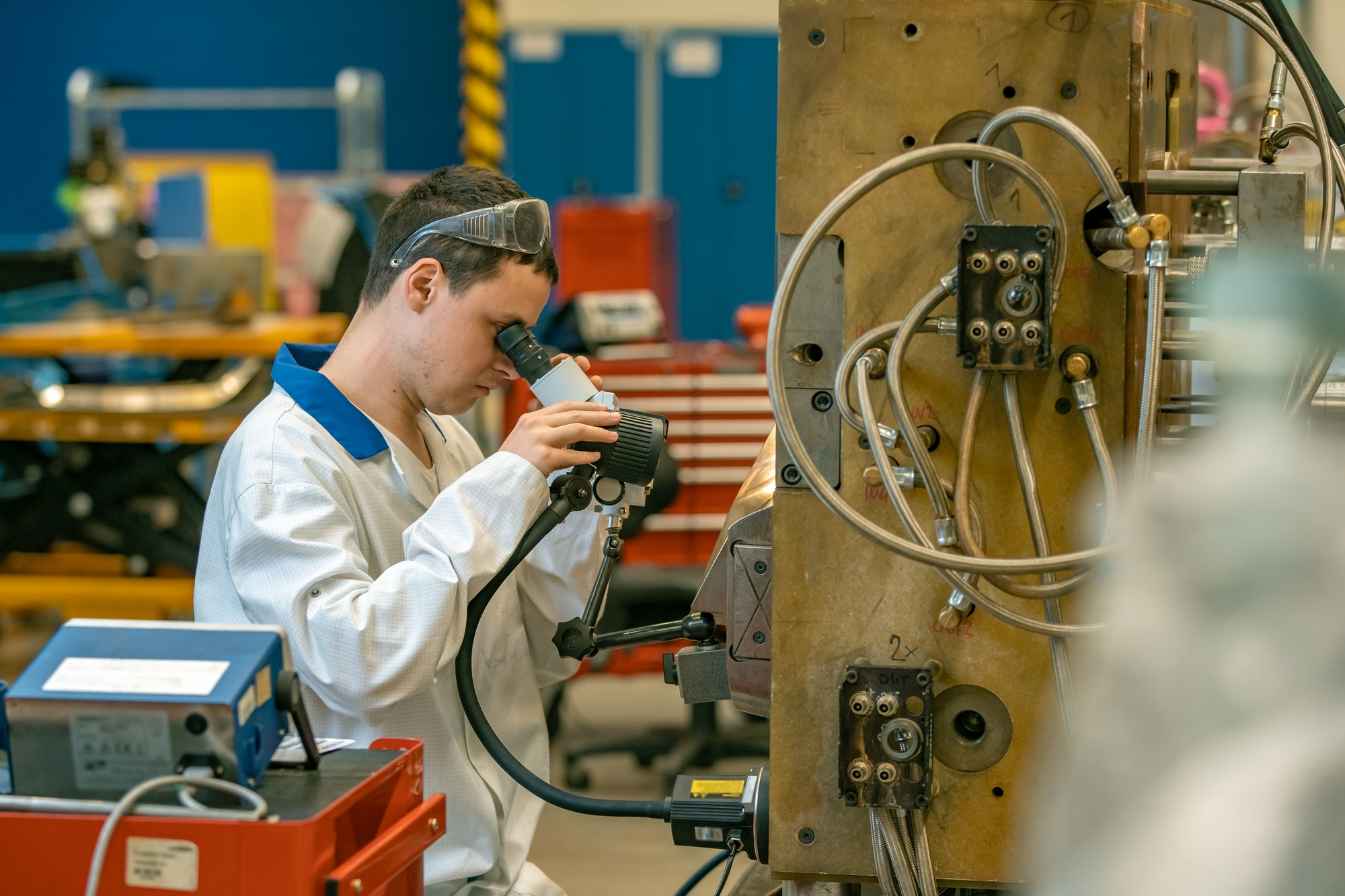 the engineer checks the correct setting of the metal mold for castings in the factory using a